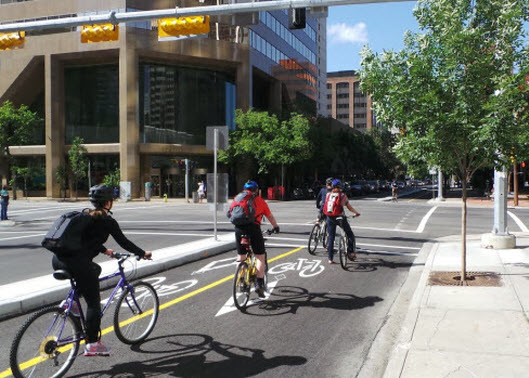 Visually and functionally the 7th Street cycle track creates a much better integration of cars, bikes and pedestrians.