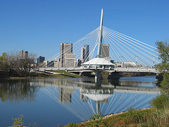 Esplanade Riel, Winnipeg, Manitoba (note the restaurant in the middle of the bridge). (Cost: $8 million)
