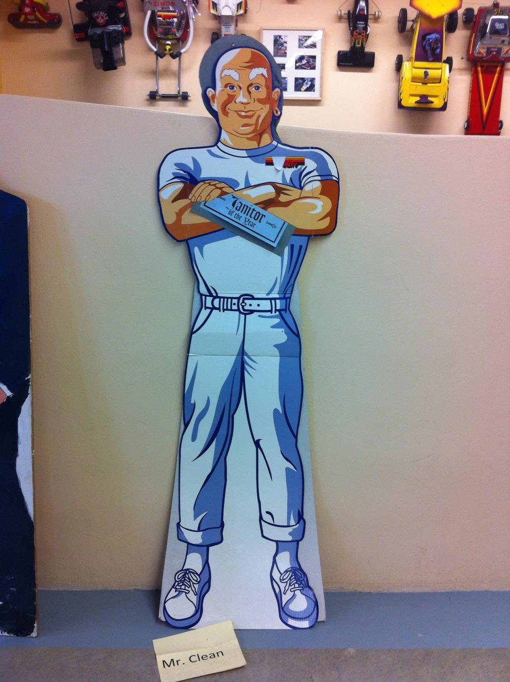 Mr. Clean cardboard cut-out.