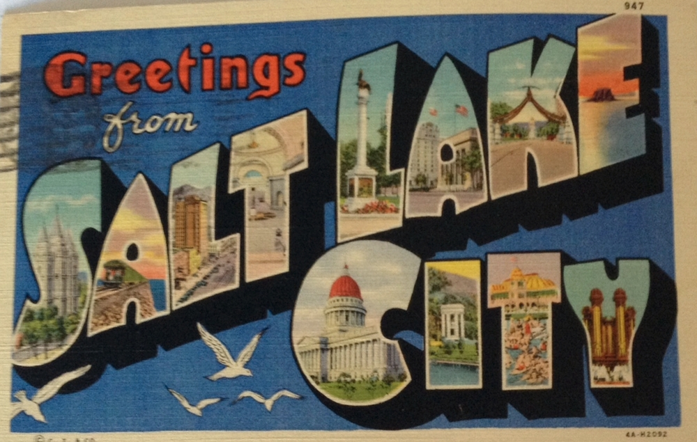 Brenda's souvenir find from our street walking in SLC was this 1938 postcard.
