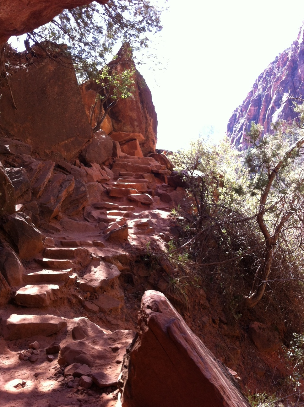 This is one of the many rock steps that you have to negotiate on the trail up and down.  It is challenging to balance the need to look where you are walking while looking at the rock formations above.