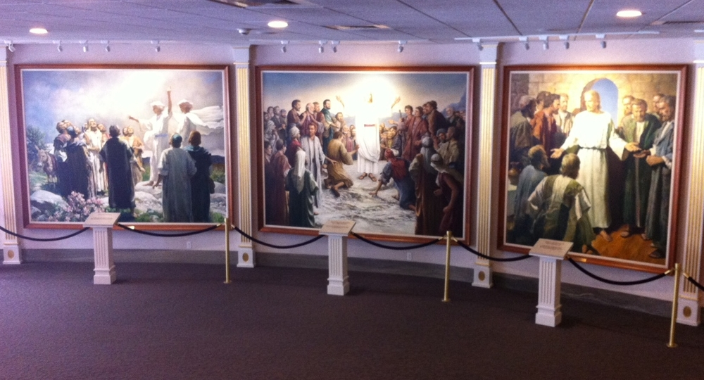 A few of the Stations of the Cross-like paintings in the North Visitor Centre.