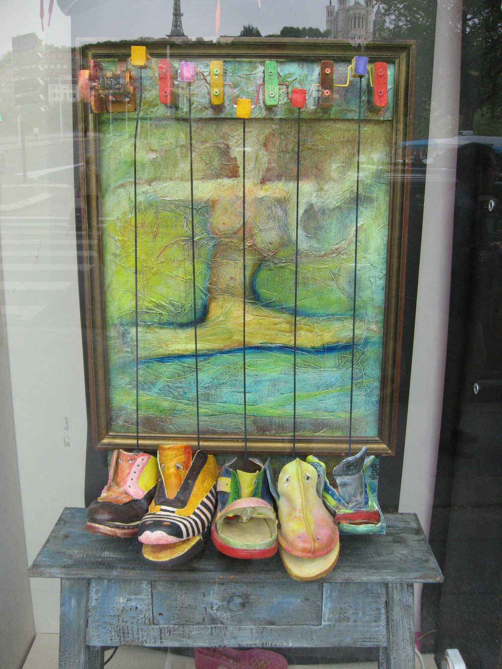 Shoe store front window