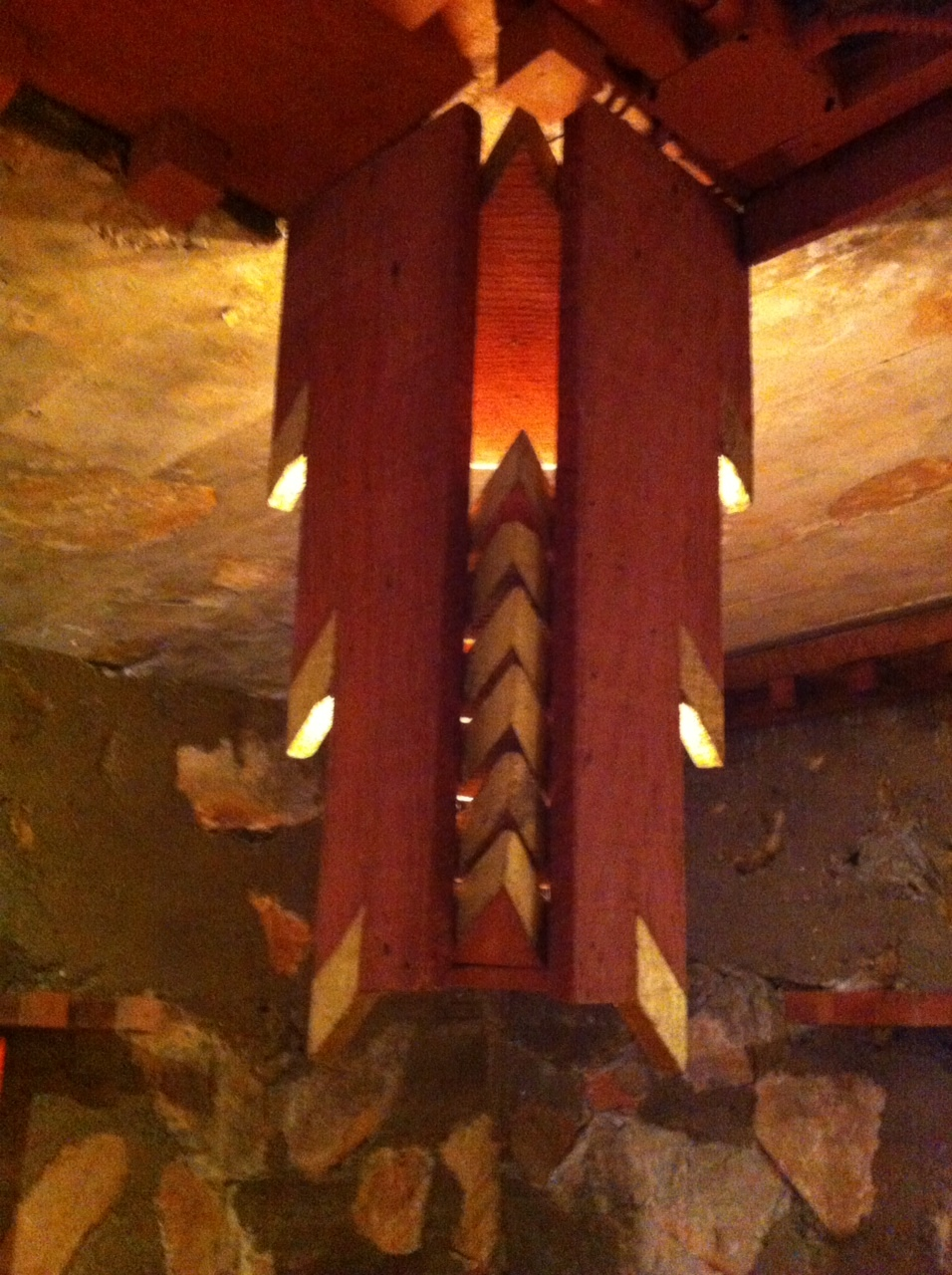 The decorative hidden lights. Wright was not a big fan of electricity and lighting, but eventually gave in.