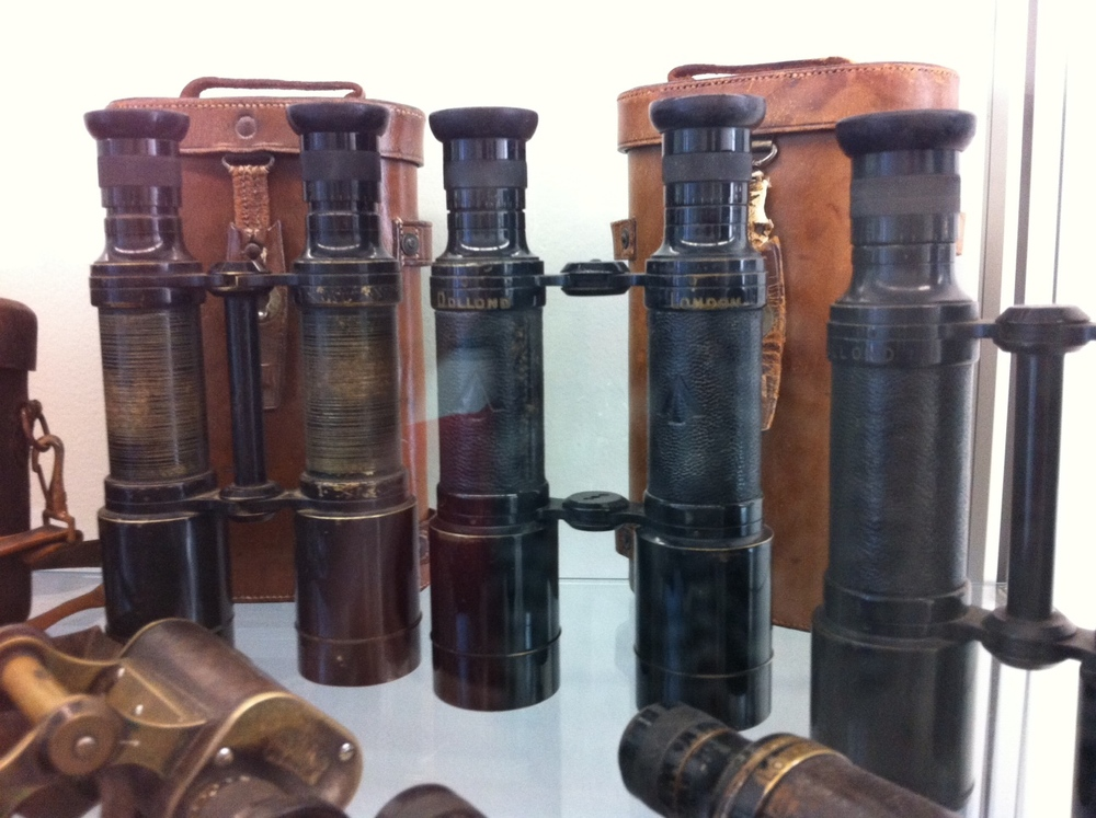 A few of hundreds of binoculars in the collection.