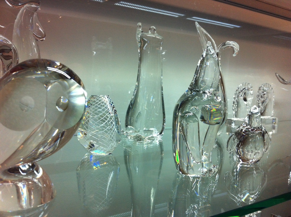 There is an entire display cabinet of glass crystal.