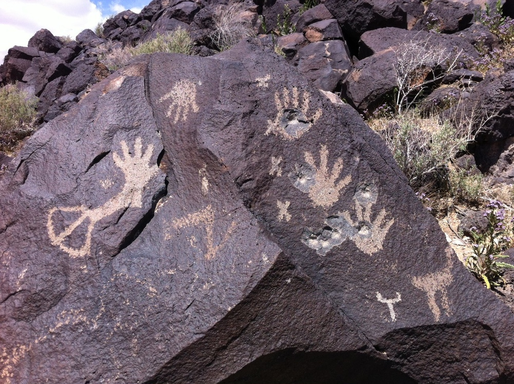 Note the bullet holes that have damaged these petroglyphs. Given the area is open to the public it is surprising how clean it is, no graffiti, no litter or bottles.