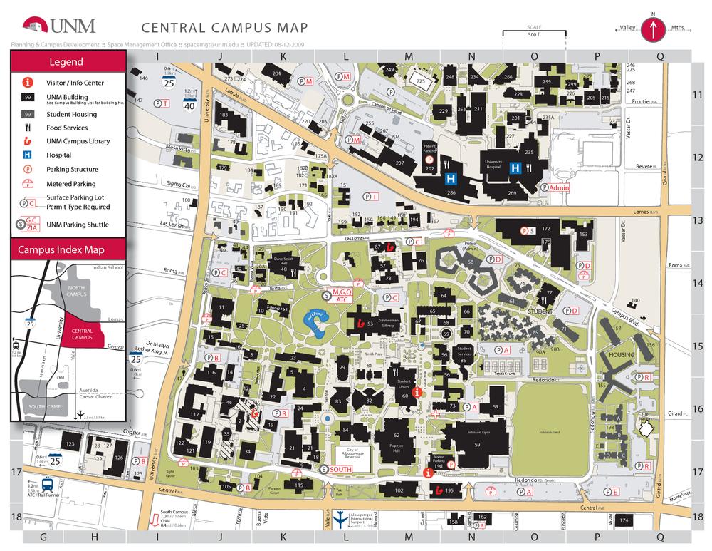 Campus Map Unm.A Mazing University Of New Mexico Campus Albuquerque Everyday Tourist