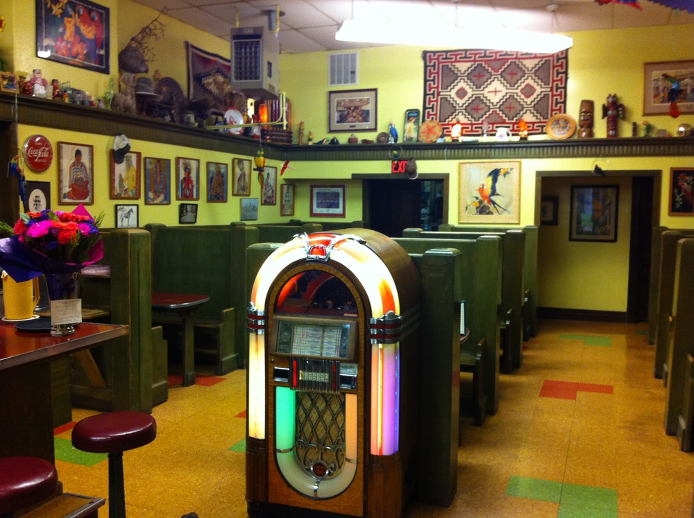 Drop in some coins and listen to some old time music while enjoying a shake.