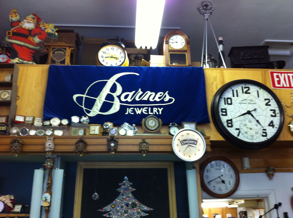 Clocks of all sizes and shapes decorate almost every available space at Barnes Jewelry.
