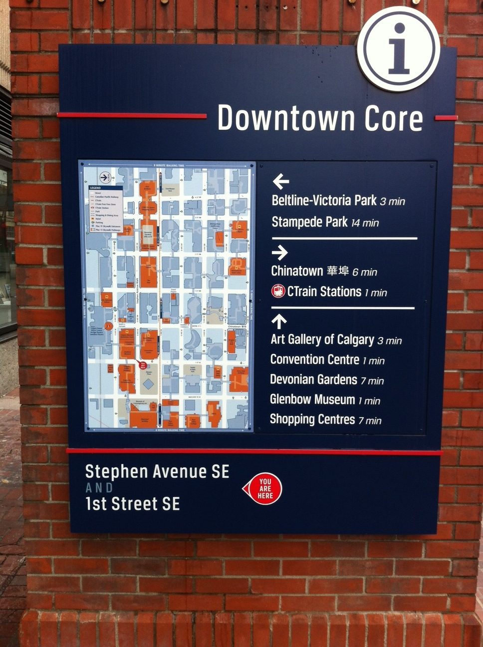 Many downtowns like Calgary are creating comprehensive wayfinding maps to help pedestrians find what they are looking for.  Note distances are in minutes not distances; this is very helpful to women who often relate more to time than distance.