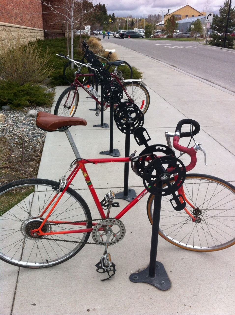 Love this custom bike rack in front of Bozeman's downtown library.
