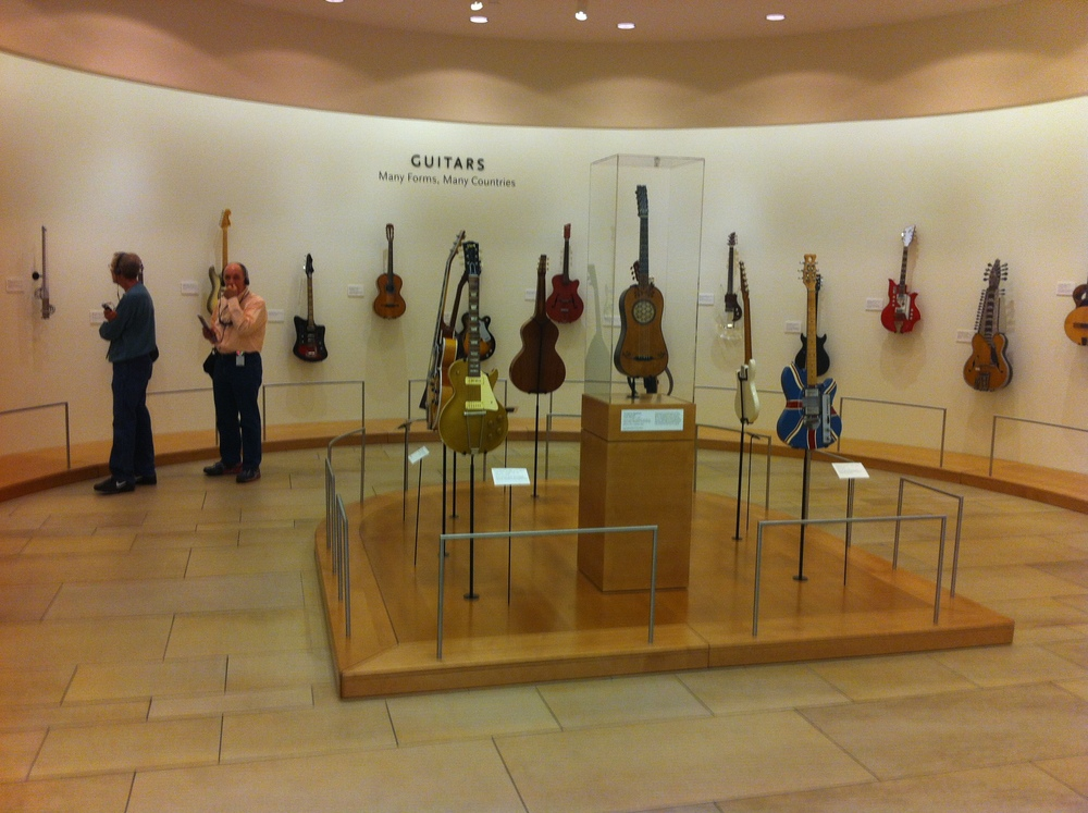 The guitar exhibition in the lobby.