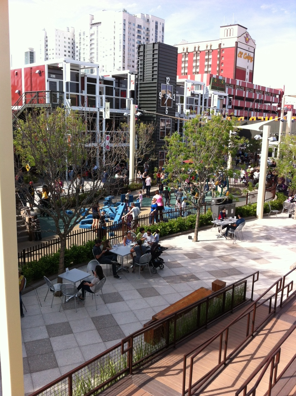 Container Park by day with downtown Las Vegas in the background.