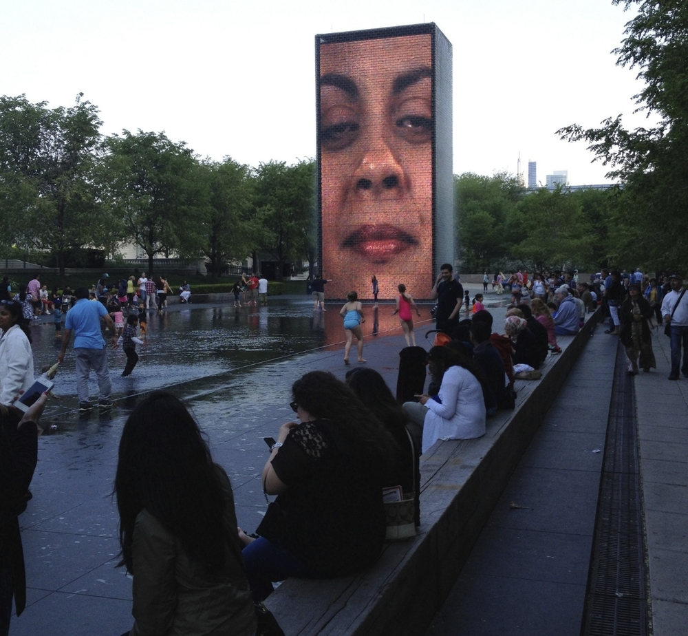 "Juame Plensa's ""Crown Fountain"" is popular day and night. It is a wonderful place to linger.  It attracts thousands of people most days spring, summer and fall."