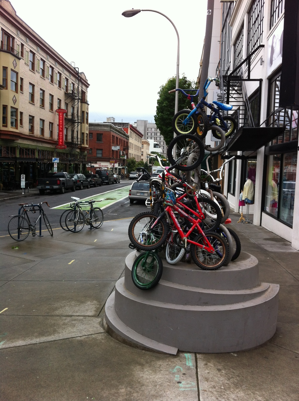 "Found this public public art piece in downtown Portland the ""Bike Capital of America."" What do you think? Does Calgary need more bike art? More horses? You can't please everyone."
