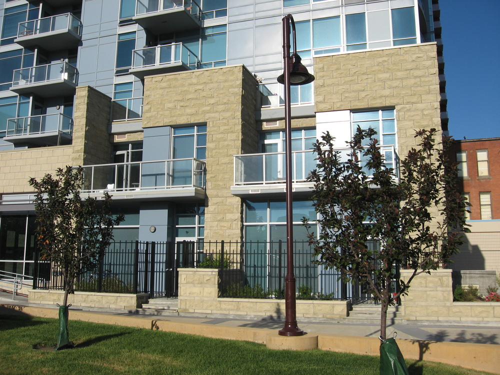 Union Square town homes with patios facing the park.