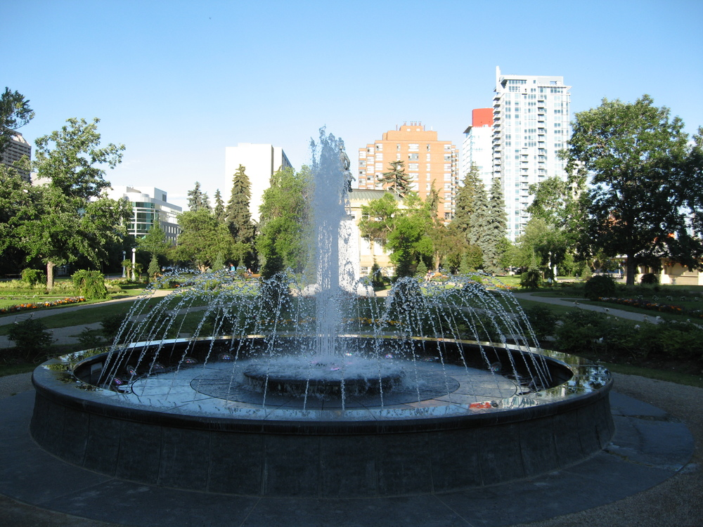 The fountains at Memorial Park with Union Square in the distance (one block away).