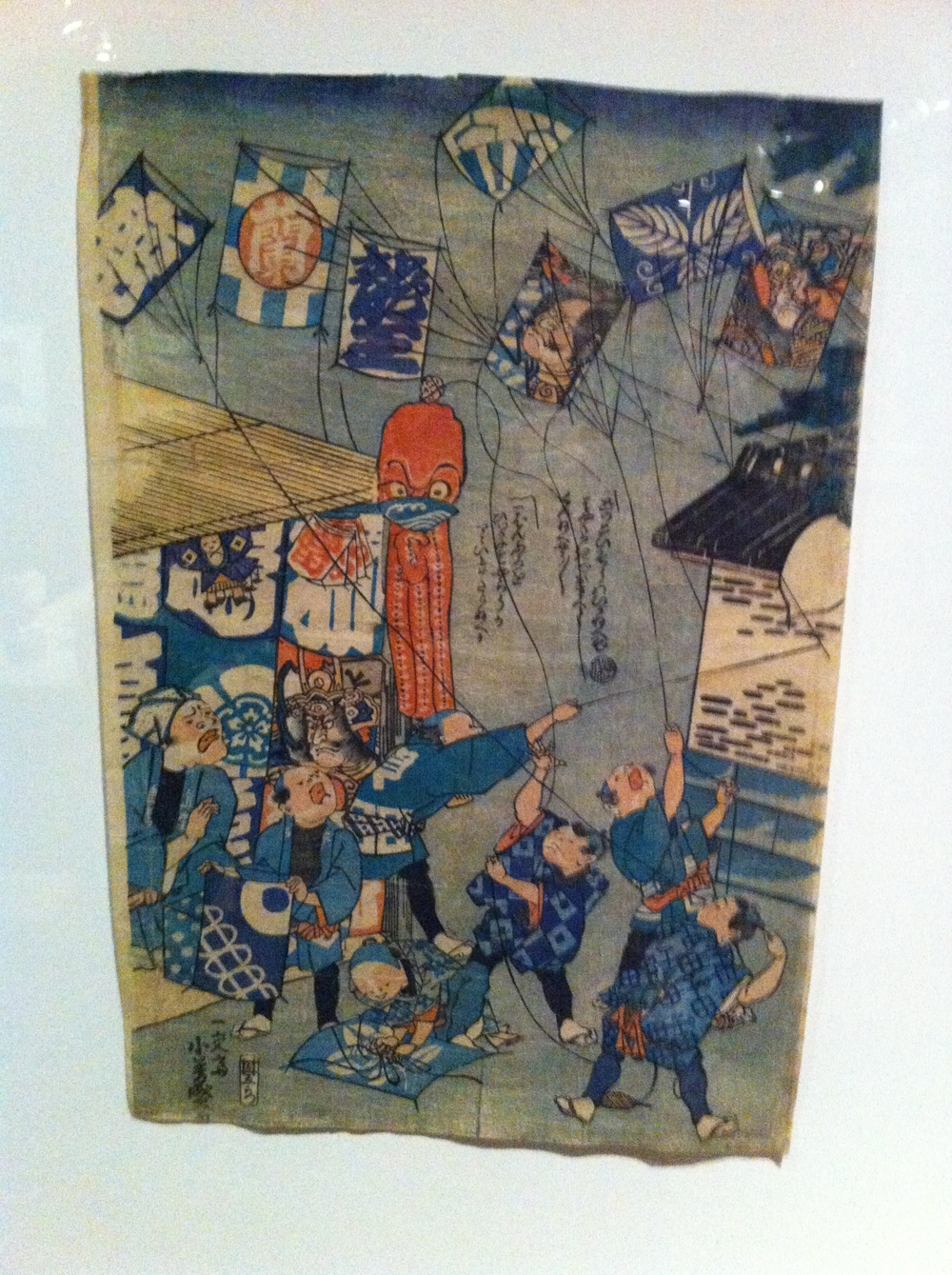 Historic artwork illustrating the kite fighting tradition.