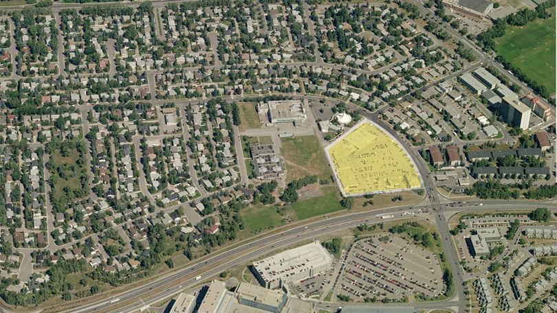 Owners of the Stadium Shopping Center (highlighted in yellow), which is located across from the Foothills Hospital are working with the City and community to create a mixed-use (residential, retail, office and hotel) village.  (Image courtesy of Ross Aitken, Remax)
