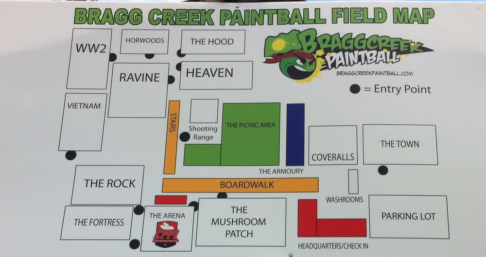 A map illustrating the many different themed playing fields.