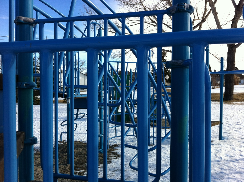 The mono-chromatic blue playground in Tuxedo also has many links to art - line, colour, shape and composition.