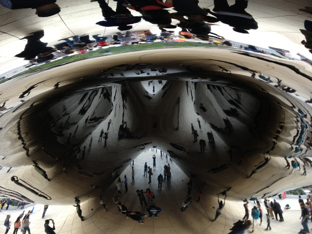 Cloud Gate, also in Chicago's Millennium Park is a magnet for people to look and play with it.