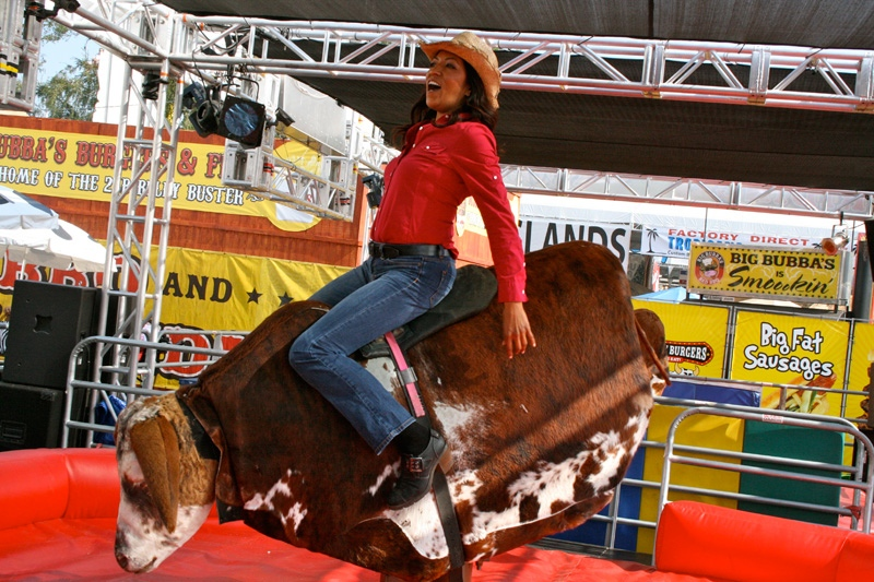 Mechanical Bull Riding at the new Triple B patio. (photo credit: Calgary Stampede)