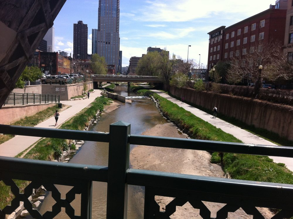 Denver's Cherry Creek pathway and condos.