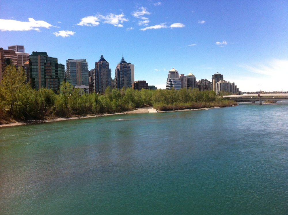 Calgary's Bow River and the Eau Claire condos.