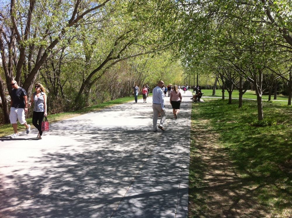 Calgary's Eau Claire Promenade is popular with walkers, joggers and cyclists year-round.