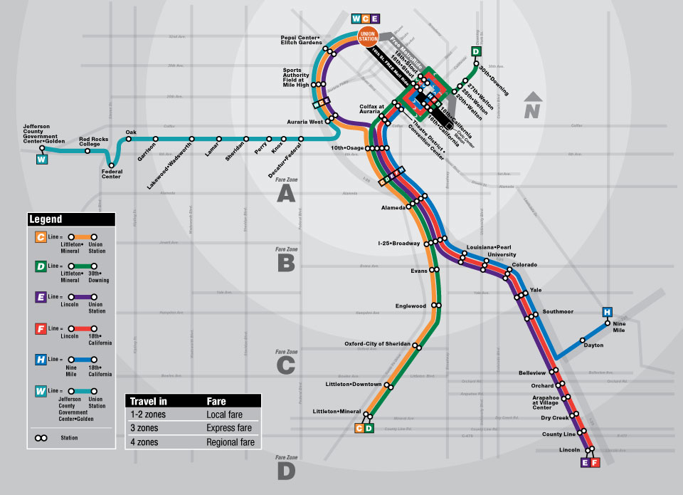 Denver's LRT map