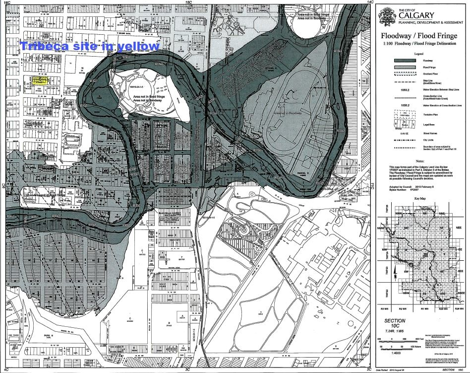 Similarly, a map of the Elbow River's Floodway/Flood Fringe from Bucci Development showing that Tribeca condo is outside the flood risk area. (photo credit: Bucci website)