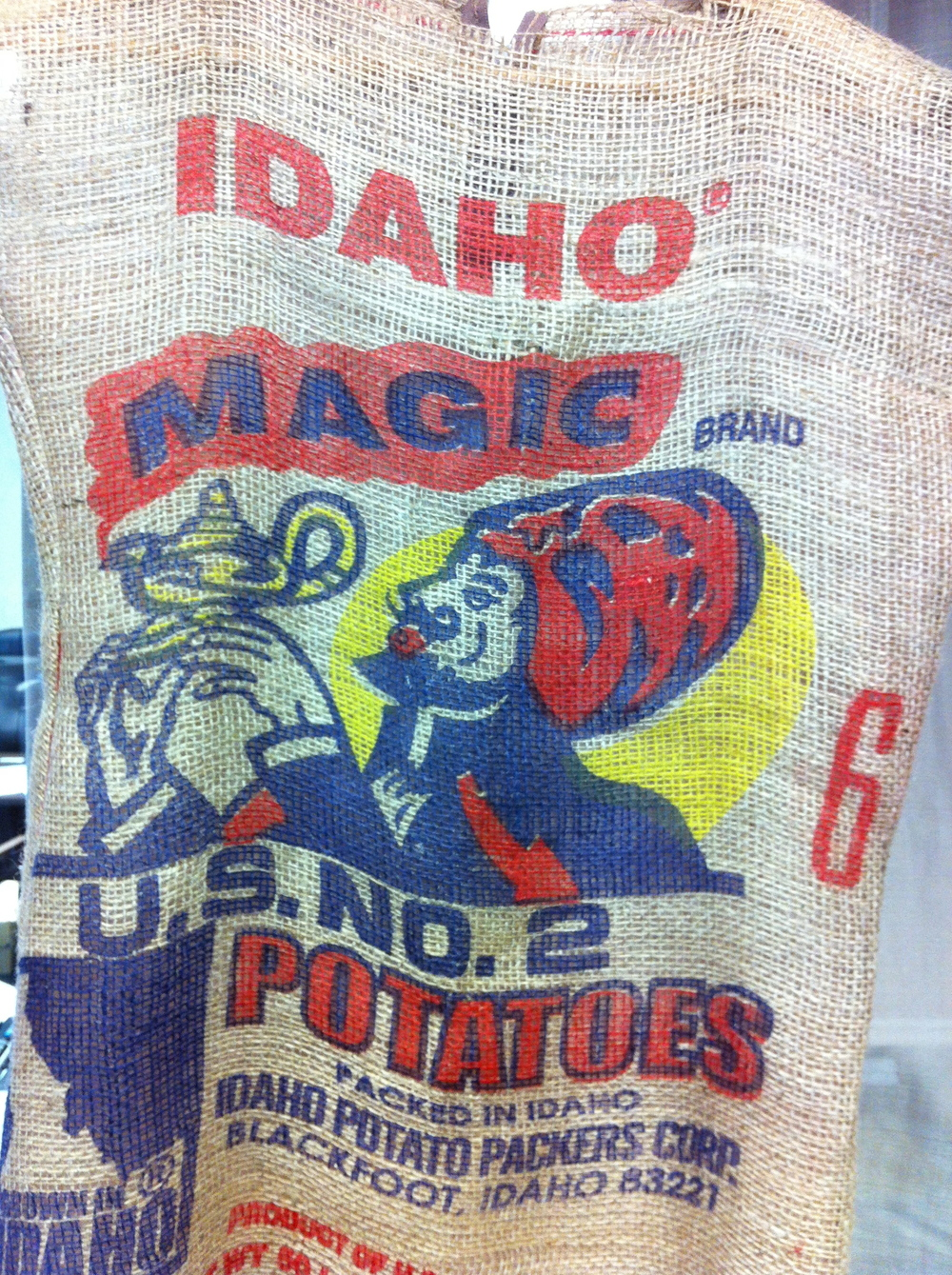 We both enjoyed the names and graphics of the potato sacks.
