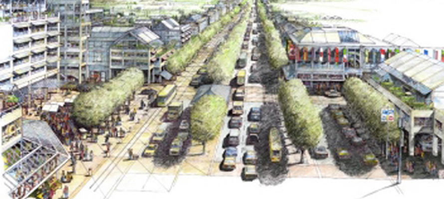 A rendering of the vision for International Avenue as a tree lined boulevard that integrates auto, bus rapid transit, pedestrian friendly sidewalks and mid-rise condos and offices.