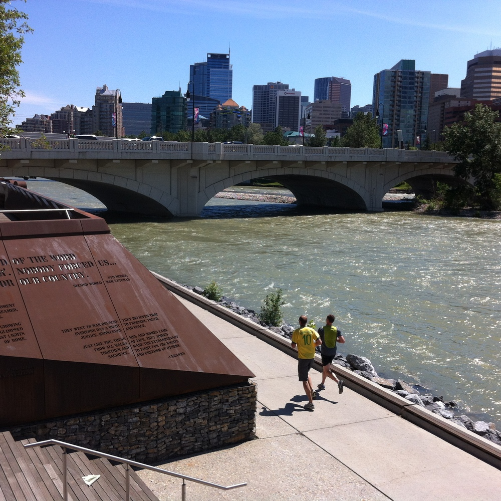 Calgary has one of the world's largest urban pathway system - over 750 km.  While you are walking, running or biking along the north side of the Bow River at the Louise (10th St) bridge you should consider stopping and checking out the new Poppy Plaza - Calgary's newest monument to Canada's war and peace keeping efforts.