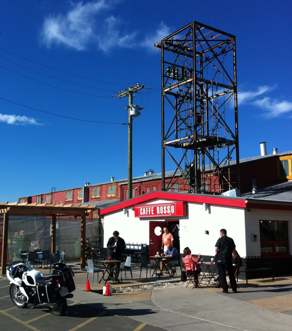 Calgary has a great cafe culture. Caffe Rosso located in interesting places like the Old Dominion Steel site in Ramsay is just one of the many independent cafes. Learn more:  Calgary's cafe scene.