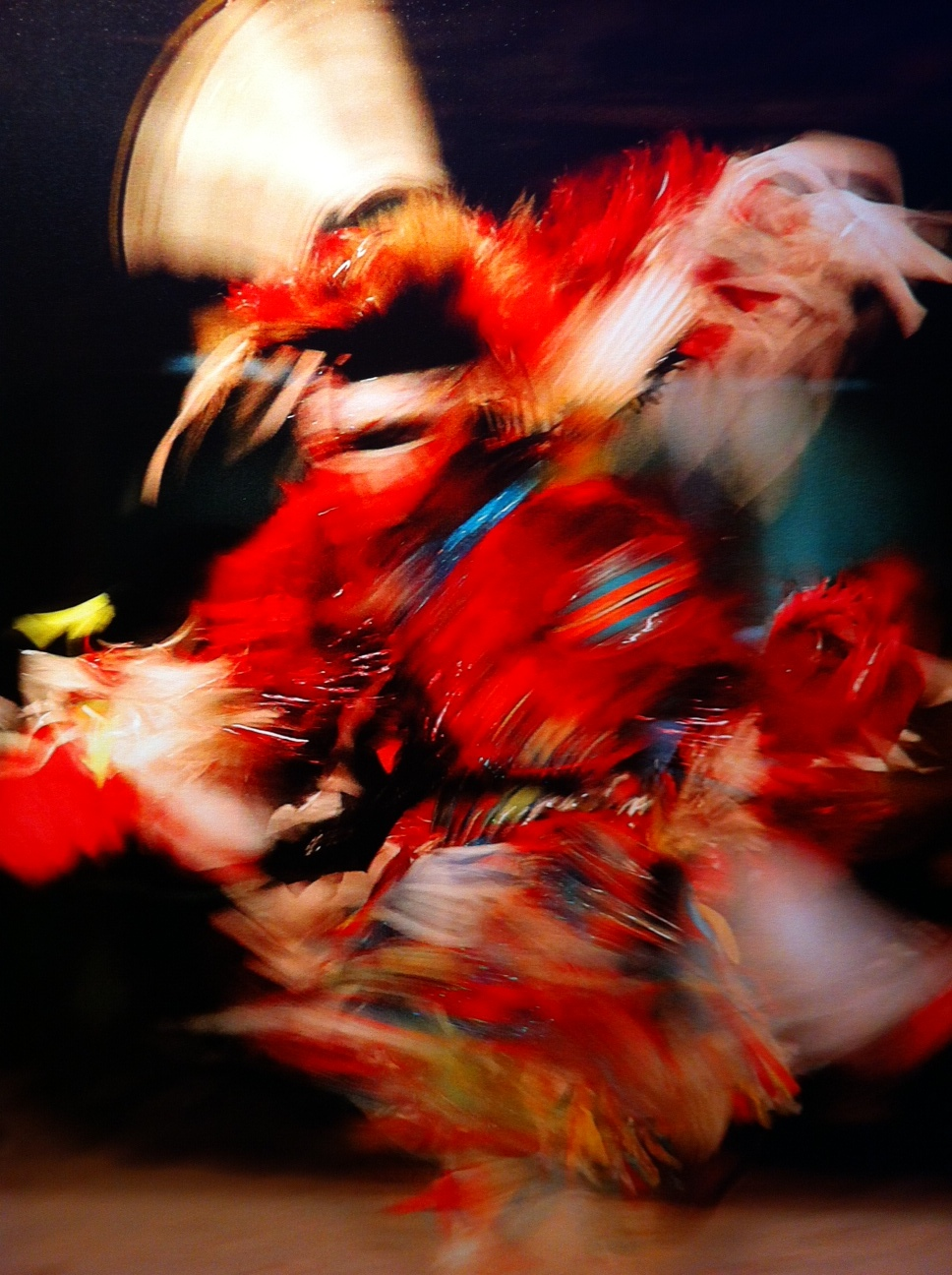 This photo of a First Nation Dancer caught my eye for its colour and movement.