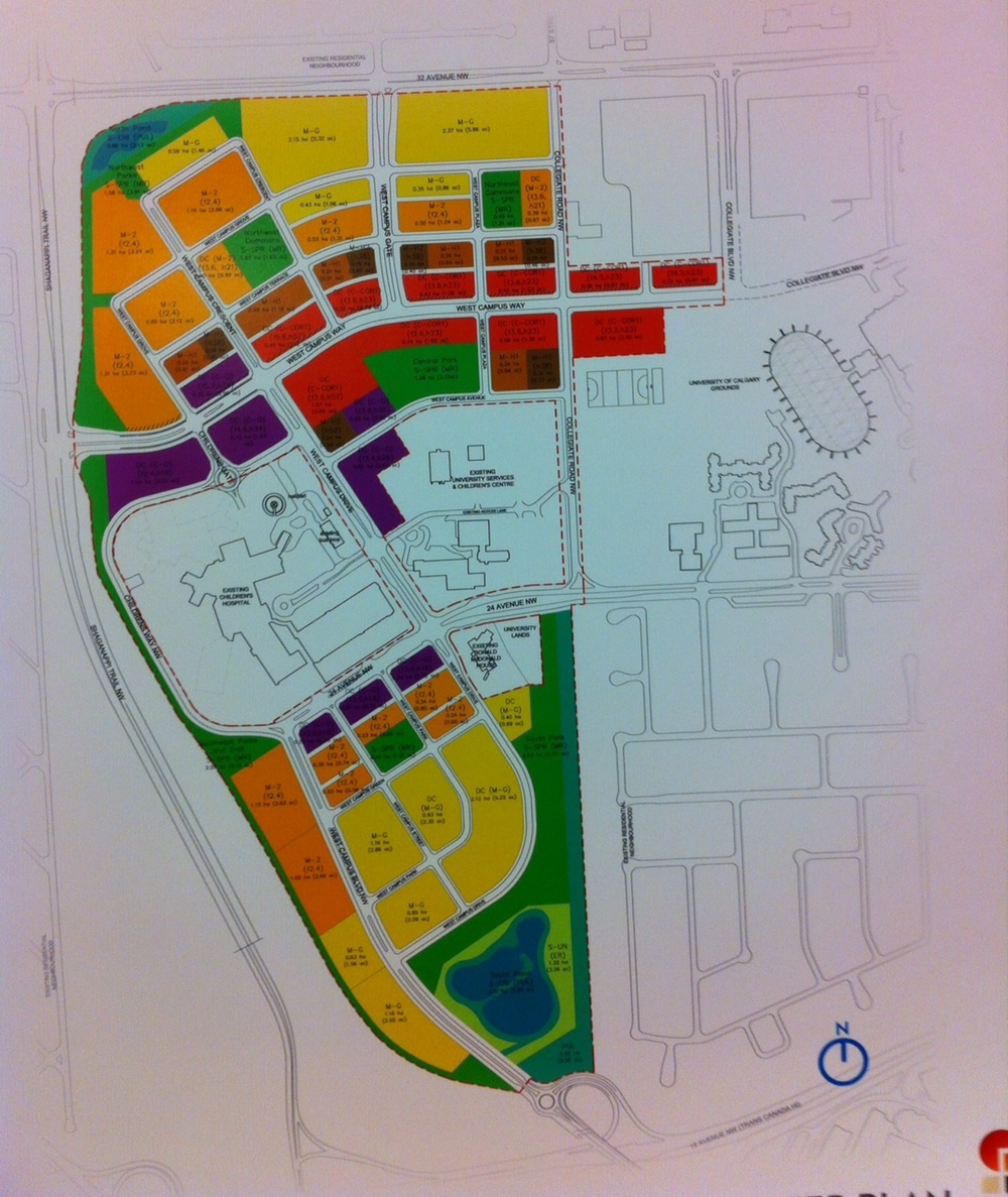 Land Use Plan: Mustard is residential 2-3 storeys, Orange is residential 4 storeys, Light brown is residential up to 8 storeys, Dark brown is high density up to 16 storeys, Red is mixed-use retail/residential with 2-3 storey podium and then up to 6 storeys above and Purple is mixed use retail/office 4 to 8 storeys.