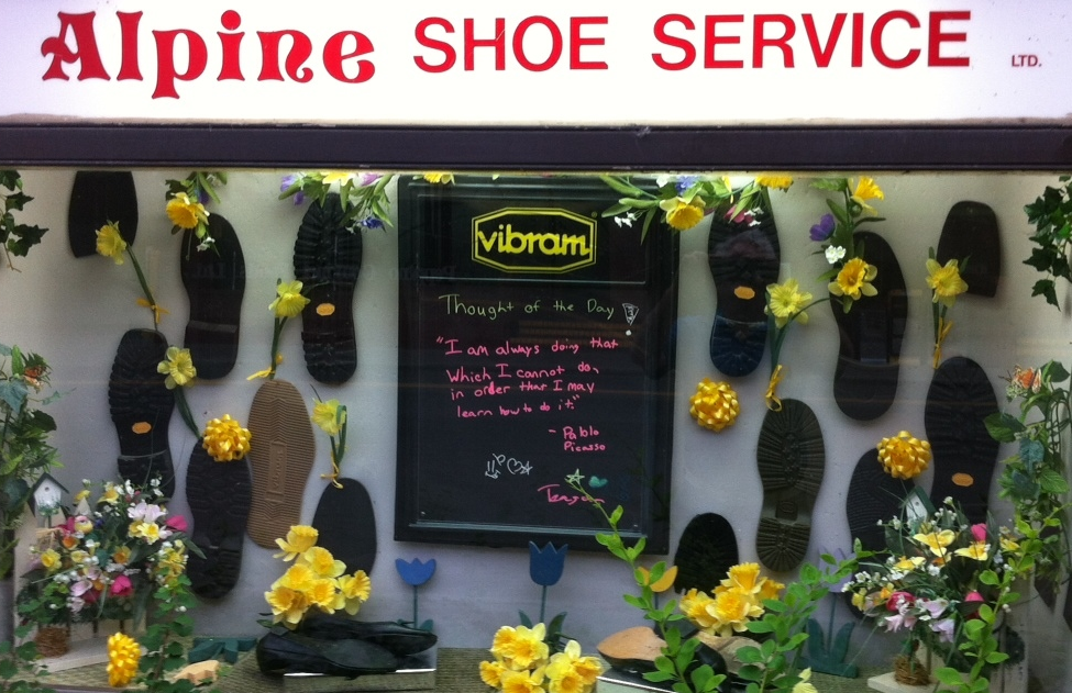 "Every urban village needs a shoe repair store. Alpine Shoe Service has been around for over 30 years.  Their ""Thought of the Day"" is both fun and thought provoking."