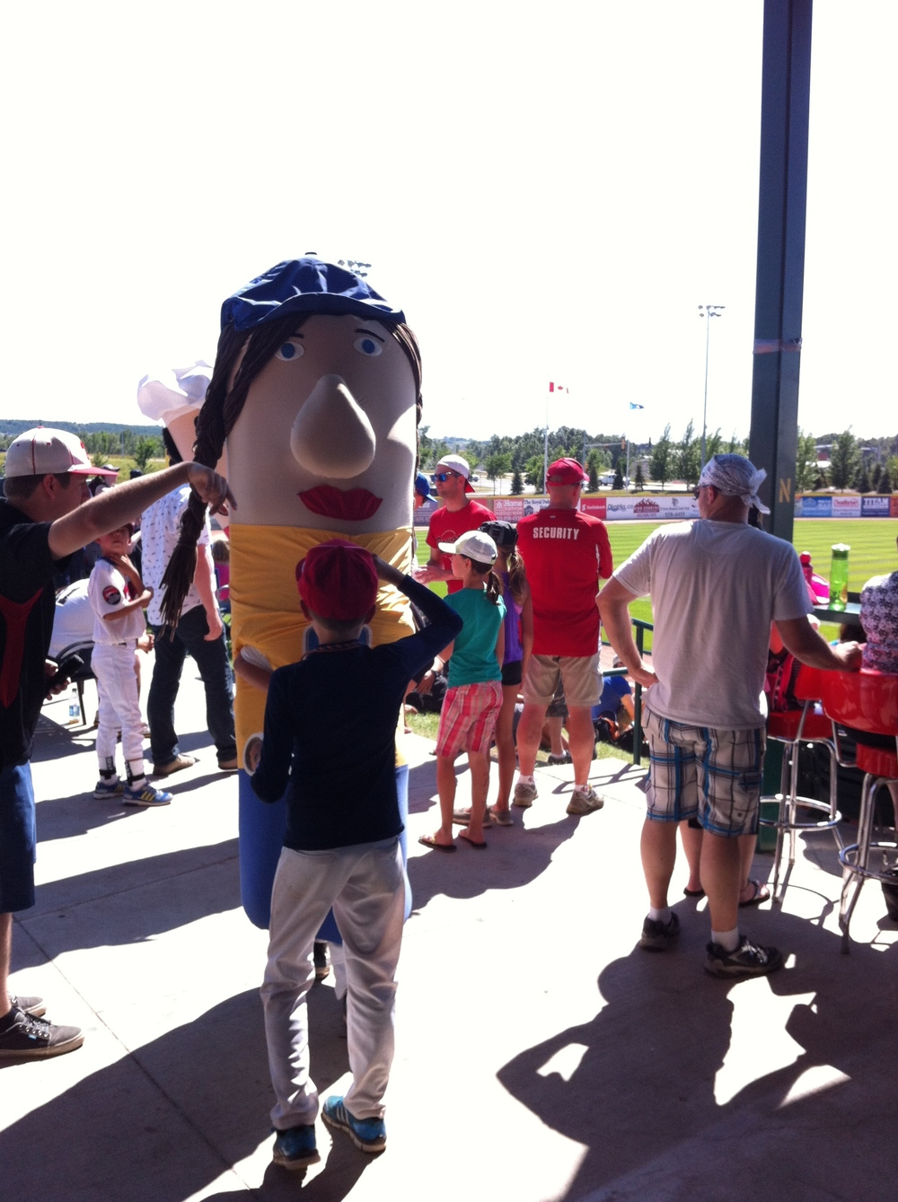 Just like the big leagues there are mascots to hug.