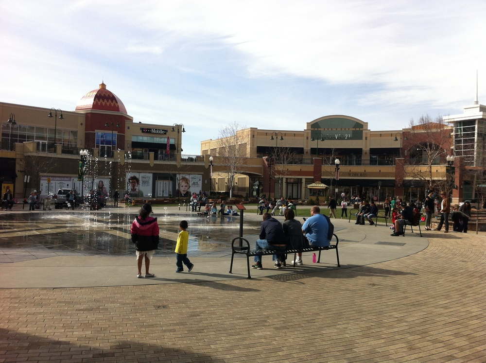 Salt Lake City's plaza is lined with shops like European plazas, unfortunately they don't open out onto the plaza.