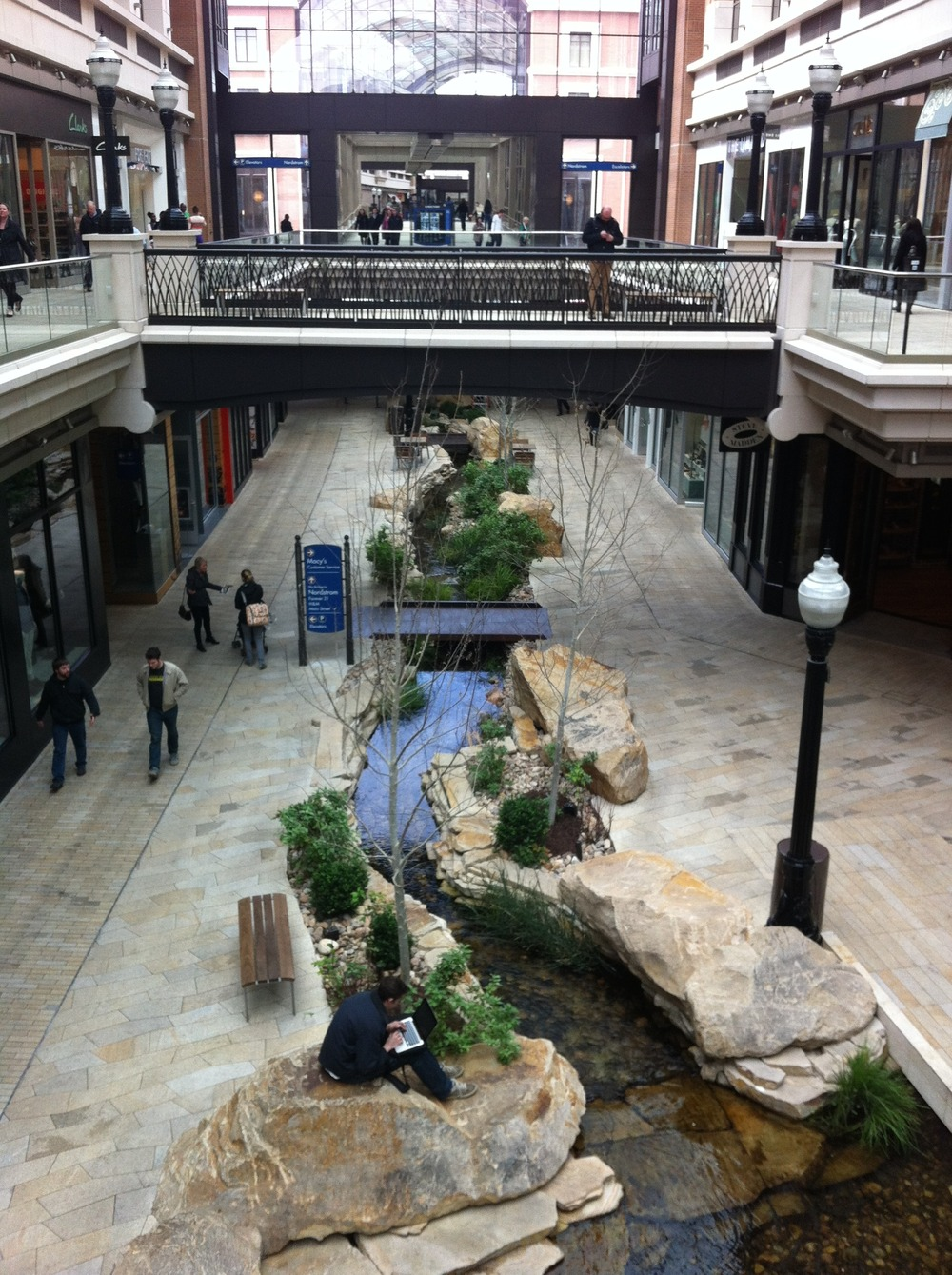 There is an actual creek running through the shopping centre.