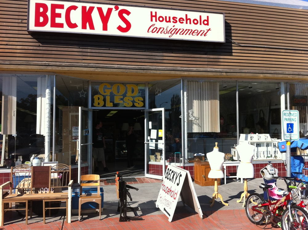 B  ecky's is just one of several second hand stores that sell everything including the kitchen sink.