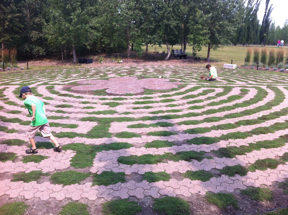 Enjoying the labyrinth.