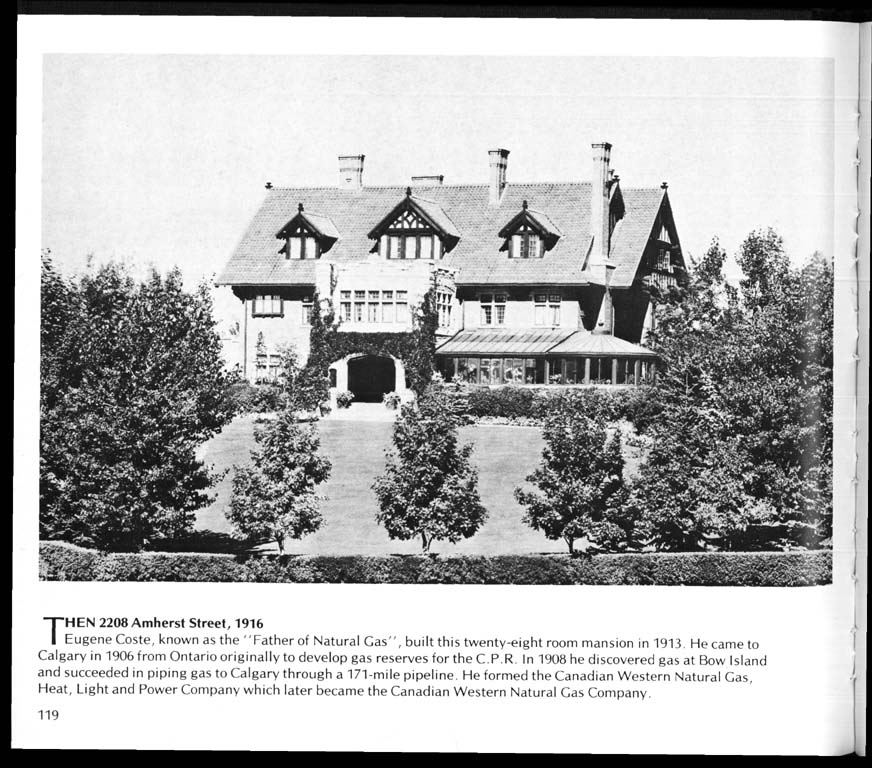"By the 1916, homes like the  Coste House  were starting to be more park-like with substantial trees. Credit: Vicky Williams "" Calgary Then and Now"" (1978)"