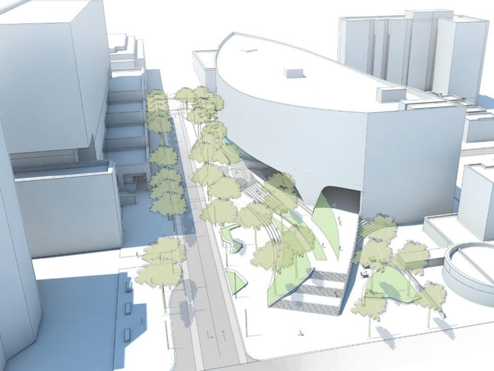 Rendering of the shape and massing of the proposed new downtown Library.