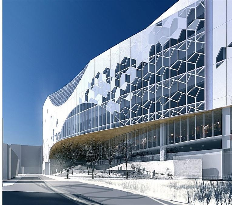 Rendering of the new library's 3rd Street SE facade.