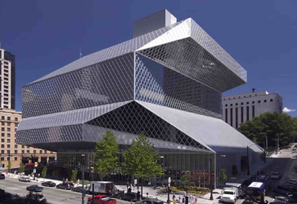 Seattle's Central Library designed by architect Rem Koolhaas, in 2004.