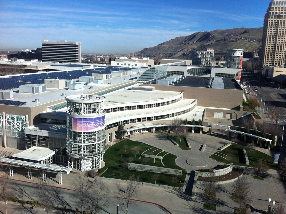 Aerial view of SLC Convention Centre in the heart of their downtown.